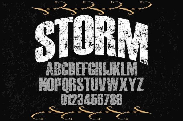 Alfabet handgemaakt etiketontwerp storm