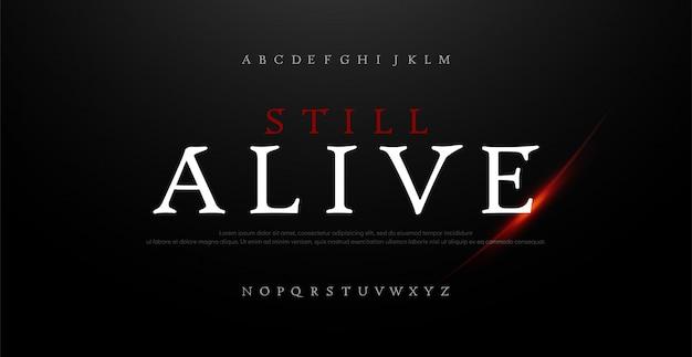 Alfabet horror, enge film logo typografie lettertype