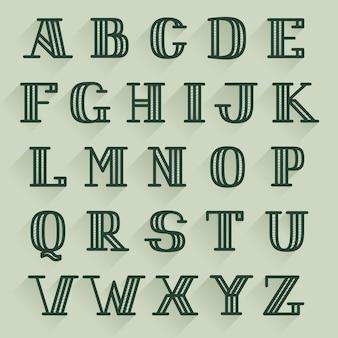 Alfabet in retro geldstijl met lijnpatroon en schaduw. vintage slab serif-type voor bank, rekening, diploma, label en posters.