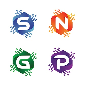 Alfabet in zeshoekige logo-ontwerpcollecties
