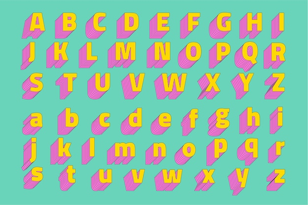 Alfabet ingesteld 3d-gestileerde lettertype