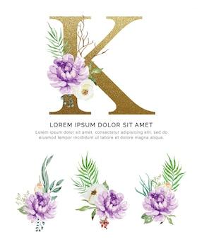 Alfabet k met boeketten bloem collectie aquarel.