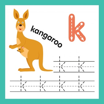 Alfabet k oefening met de illustratie van de beeldverhaalwoordenschat, vector
