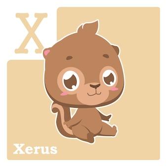 Alfabet-kaart met letter x