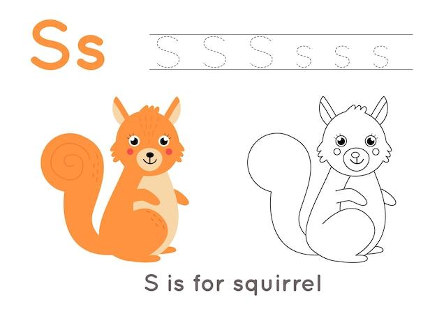 Alfabet kleurplaat voor kinderen. basis schrijfactiviteit. tracing abc letters werkblad. letter s met schattige cartoon eekhoorn.