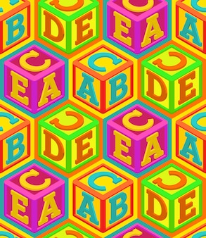 Alfabet kubussen naadloos patroon