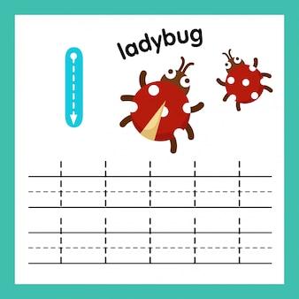 Alfabet l-oefening met de illustratie van de beeldverhaalwoordenschat, vector