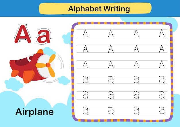 Alfabet letter a vliegtuigoefening met cartoon woordenschat illustratie