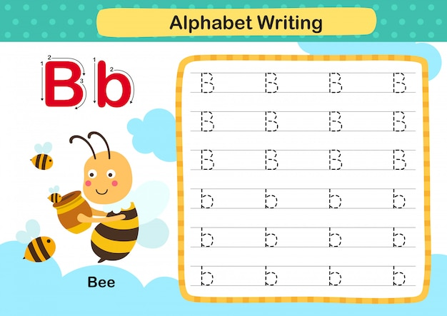 Alfabet letter b-bee oefening met cartoon woordenschat illustratie