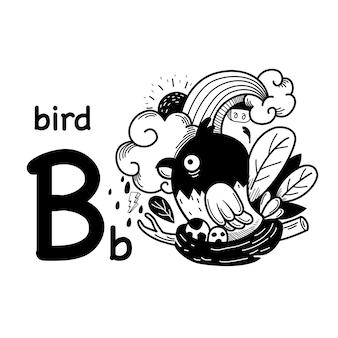 Alfabet letter b vogel in de hand getekend
