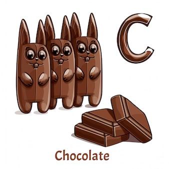 Alfabet, letter c van chocolate