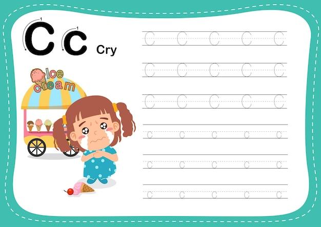 Alfabet letter cry-oefening met woordenschat voor meisjes