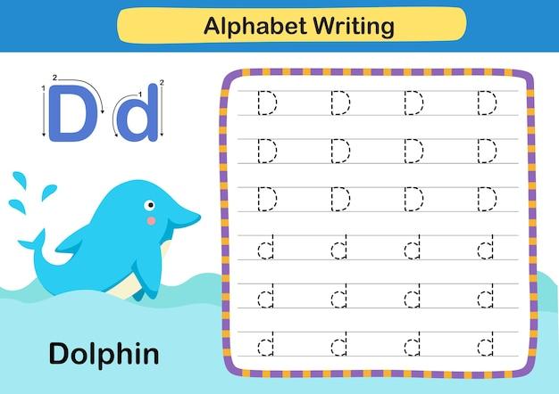 Alfabet letter d dolfijnoefening met cartoonwoordenschatillustratie