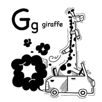 Alfabet letter g giraffe in de hand getekend