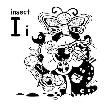 Alfabet letter i insect in de hand getrokken