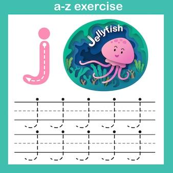 Alfabet letter j-kwallen oefening, papier gesneden concept vectorillustratie