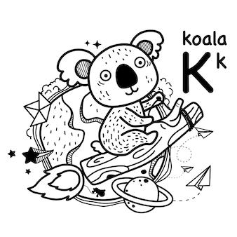 Alfabet letter k koala in de hand getekend