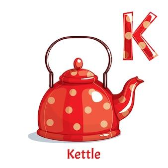 Alfabet, letter k of kettle