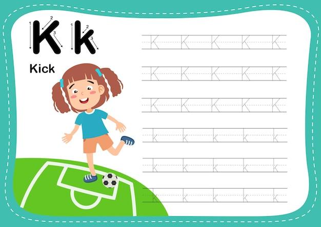 Alfabet letter kick-oefening met woordenschat voor meisjes