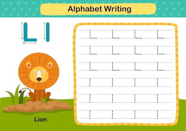 Alfabet letter l-lion oefening met cartoon woordenschat illustratie