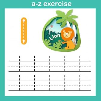 Alfabet letter l-lion oefening, papier gesneden concept vectorillustratie