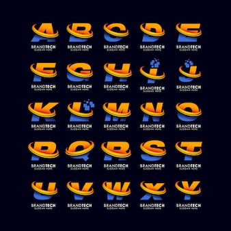 Alfabet letter logo sjabloon in gradiënten stijl