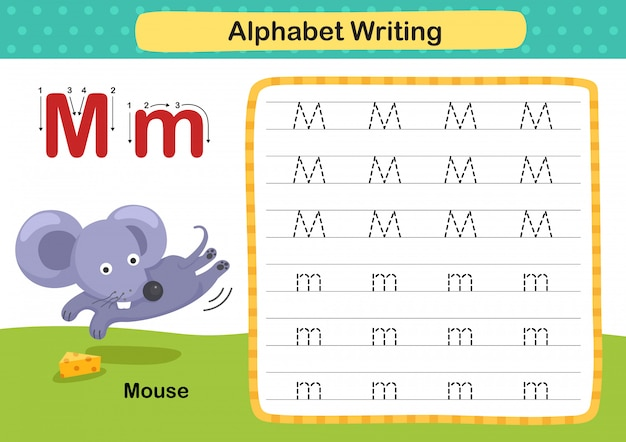 Alfabet letter m-muis-oefening met cartoon woordenschat illustratie