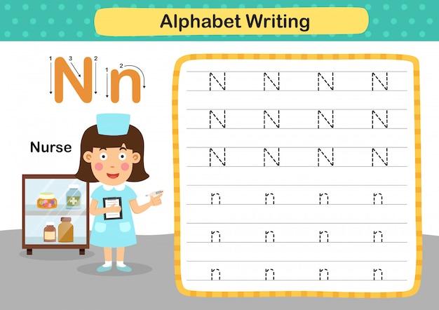 Alfabet letter n-verpleegkundige oefening met cartoon woordenschat illustratie