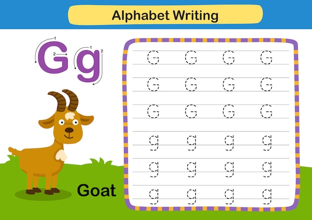 Alfabet letter oefening g geit met cartoon woordenschat illustratie
