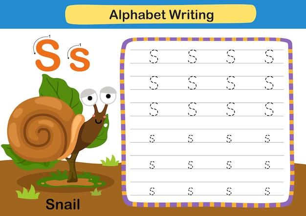 Alfabet letter oefening s slak met cartoon woordenschat illustratie