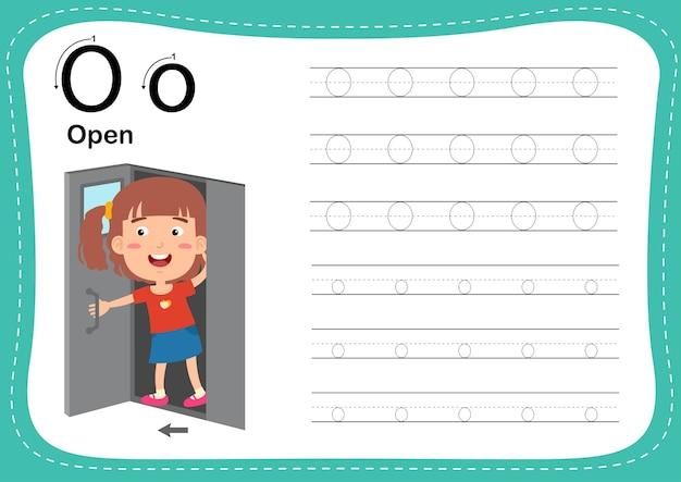 Alfabet letter open oefening met woordenschat voor meisjes girl