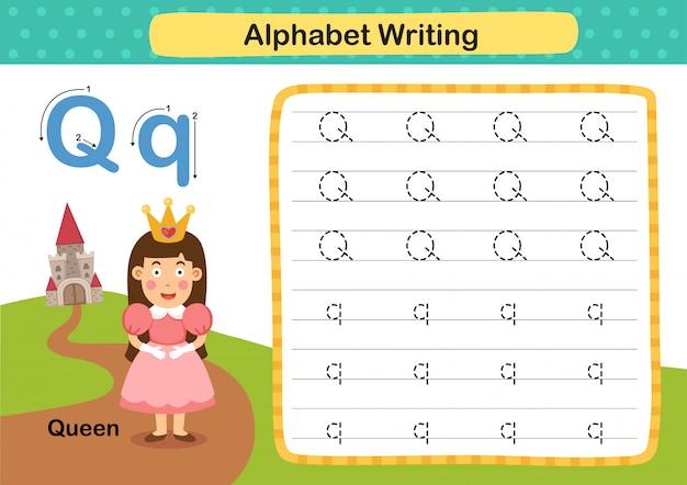 Alfabet letter q-queen oefening met cartoon woordenschat illustratie