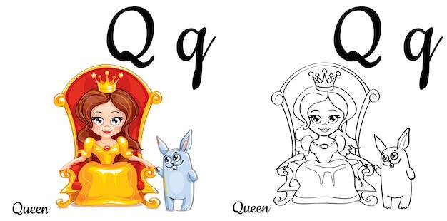 Alfabet letter q voor kinderen onderwijs met grappige cartoon koningin en konijn. geïsoleerd. leren lezen. kleurplaat.