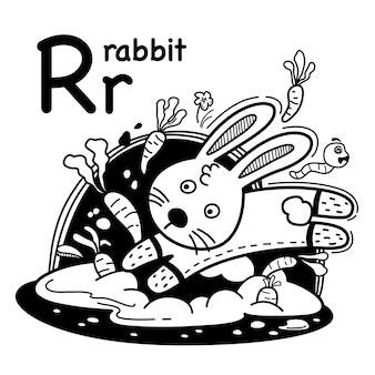 Alfabet letter r konijn in de hand getrokken