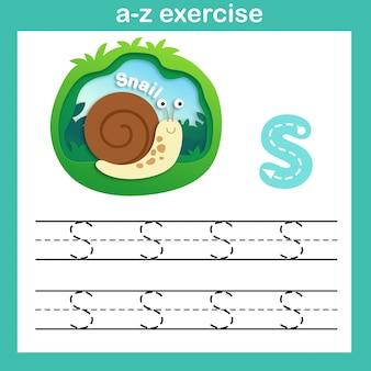 Alfabet letter s-slak oefening, papier gesneden concept vectorillustratie