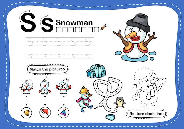 Alfabet letter s-sneeuwpopoefening met cartoonwoordenschat