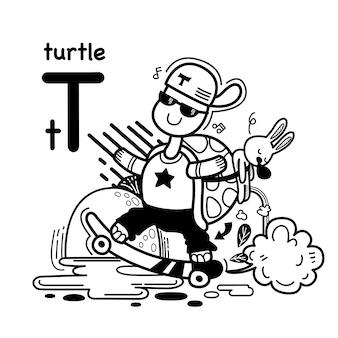 Alfabet letter t schildpad in de hand getrokken