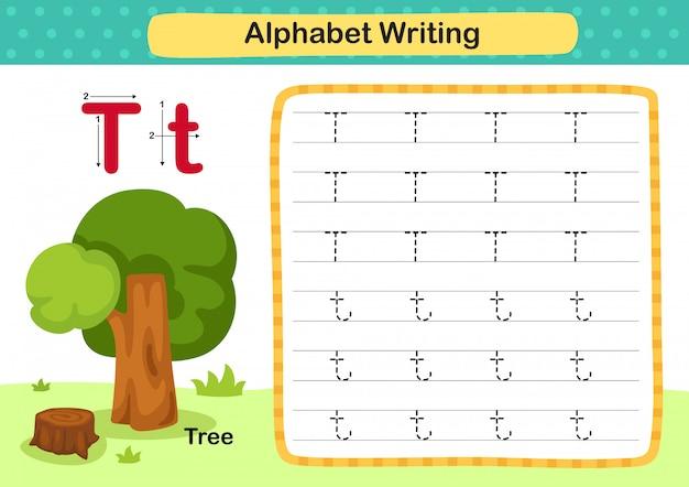 Alfabet letter t-tree oefening met cartoon woordenschat illustratie