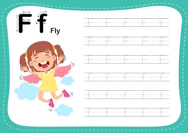 Alfabet letter vliegoefening met woordenschat voor meisjes