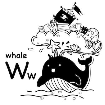 Alfabet letter w walvis in de hand getrokken