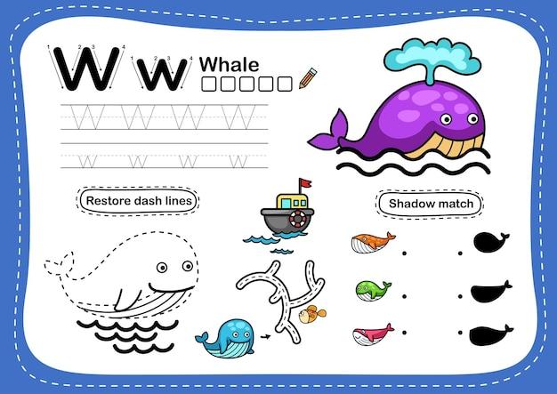 Alfabet letter w-walvisoefening met cartoonwoordenschat
