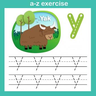 Alfabet letter y-jak oefening, papier gesneden concept vectorillustratie