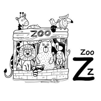 Alfabet letter z dierentuin in de hand getekend