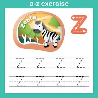 Alfabet letter z-zebra oefening, papier gesneden concept vectorillustratie