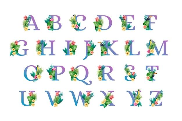 Alfabet lettertype hoofdletters met bloemen