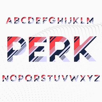 Alfabet lettertype in gekleurde diagonale strepen