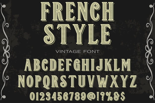 Alfabet lettertype labelontwerp franse stijl