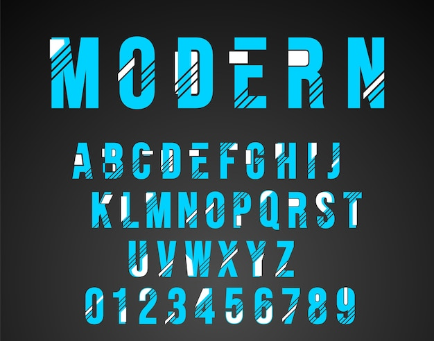 Alfabet lettertype modern ontwerp