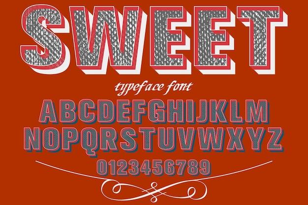 Alfabet lettertype typografie lettertype schaduweffect ontwerp zoet