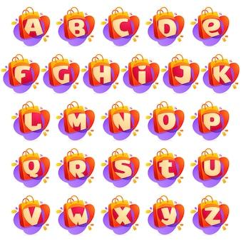 Alfabet met boodschappentas pictogram en verkoop-tag.